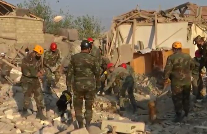 12 Dead as Rescue Job continues in Ganja after Armenian Missile Attack